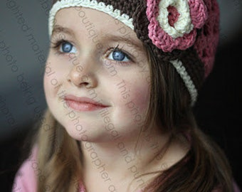 "Beanie Hat Crocheted ""The Annabelle"" Rose Pink Chocolate White Open Weave Style Flower Band Trim"