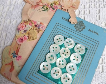 12 Vintage Antique Teeny tiny Mother of Pearl buttons ~ Made in the USA ~ doll making ~ baby
