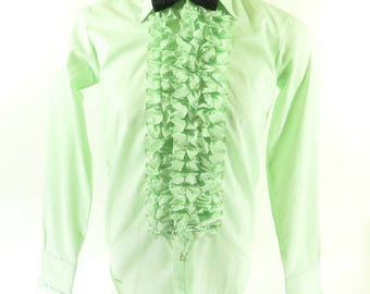 Vintage 70s After Six Ruffle Tuxedo Shirt Mens S Deadstock Green Union Made [H76L_0-9]