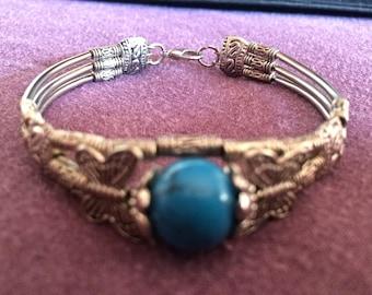 Tibetan silver & turquoise bead bracelet/bangle