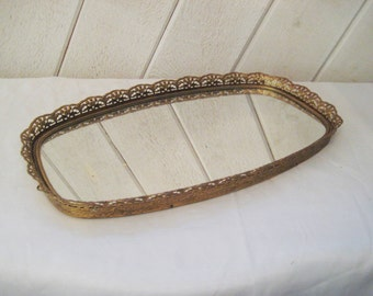 Mirror vanity tray with brass filigree sides, mirror bathroom tray, make up tray, shabby cottage chic decor, 927