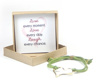 Live Love Laugh Heart Bracelet in a gift box- heart jewellery, gift for her, gift for daughter, graduation gift, inspirational jewelry