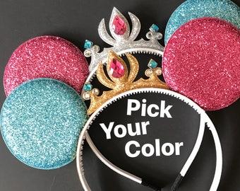 Aurora Minnie Ears,Pink and blue costume,Tiara Minnie Mouse Ears,Pink and Blue Ears,Princess Minnie Ears,Princess Ears,Disneyland Ears
