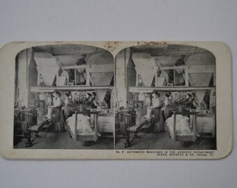 Antique Stereograph Stereoview Photo Photograph Picture Industrial Grocery Sears Roebuck Chicago