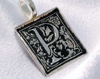Clearance - P is for Posh - Donatienne - recycled silver initial pendant