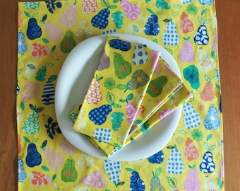 Large Yellow Napkins, Colorful Pears in Blue, Pink, Green, Organic Cotton Hand Picked Pears, Housewarming Gift, Whimsical Fruit, Set of 4