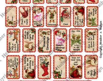 Santa Claus Merry Christmas Victorian Traditional Red Shabby Cream Digital Tickets Collection Collage Printable Angel Reindeer Rudolph