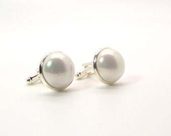 Morning Frost White Pearl Cufflinks – 16mm Round White South Sea Shell Pearl Cufflinks – White Cufflinks