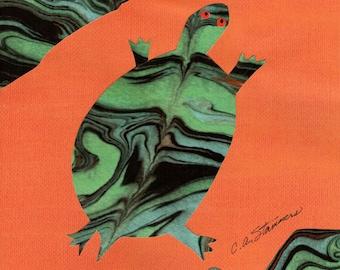 Little Turtle // paper cutting // paper marbling // colorful // original art // laser print // small // inexpensive  // unique // unusual
