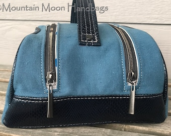 Blue Snakeskin Juniper Toiletry Bag