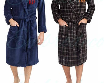 Plush warm soft fleece, Personalized Robe for Men