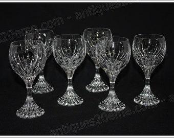 Set of 6 water glasses in Baccarat crystal Massena model