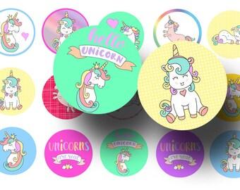 Cute unicorns bottle cap images - Unicorns  1 inch circles - 25 mm circles - Magnets - Key chains - Kids crafts  - Printable