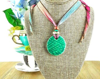 Rainbow Brambles Ceramic Necklace: Mint Green Necklace/ Woodland Necklace/ Colorful Necklace/ Spring Necklace/ Handmade Necklace
