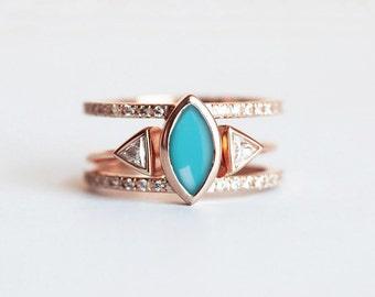 Turquoise Diamond Ring, Turquoise Engagement Ring, Turquoise Wedding Set, Bohemian Ring Set, Gold Turquoise Ring, Diamond Wedding Set