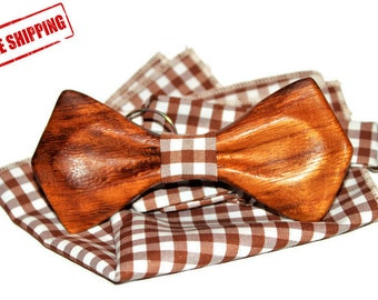 Wooden bow tie + pocket square. Men Accessories. Best personal gift. FREE SHIPPING!