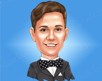 Custom Cartoon Portrait/ Custom caricature from photo/ Personalized Fun Portrait Illustration/ Facebook Profile, Birthday gift for boys