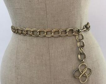 Vintage Gold 4 Leaf Clover Medallion Metal Chain Link Belt / Size Small Medium Large S M L Gold Tone Metal