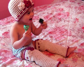 PDF Instant Download Crochet Pattern No 057 Flower Beanie And Legwarmers Set