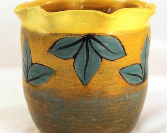 Wheel Thrown Pottery Stoneware Vase Leaves Turquoise Orange Yellow Sunrise HP