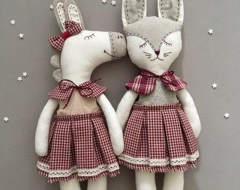 Bunny in gingham dress