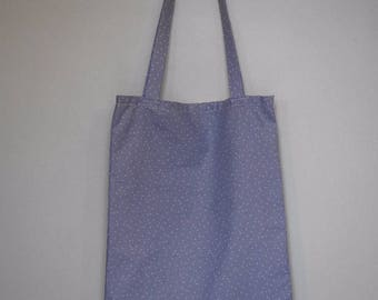 Tote bag - light blue fabric white triangles pattern