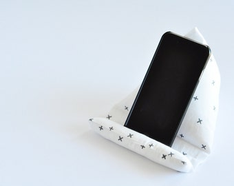 Fabric Phone Stand, Phone Holder, Phone Pillow, iPhone Stand, iPhone Holder, Mobile Phone Stand - Black And White Crosses