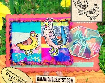 Chickens Digital Stamp 2 image bundle- Digistamp - Easter Digital Stamp - Coloring Pages - Stamp - Printable Sticker - Clip Art - Printables