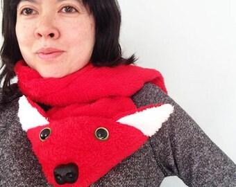 Red Cuddle Fleece Fox Scarf