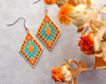 Stained Glass Diamond, Modern Native American Earring