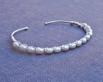 Braided Pearl Bracelet by Hyacinth Blue Designs