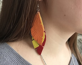 Leather feather earrings - yellow, orange and red leather dangle earrings - leather jewelry