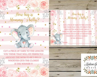 ELEPHANT How Big Is MOMMYS BELLY Guessing Game, Elephant Baby Shower Game, Board and Cards, Digital Printable, Instant Download