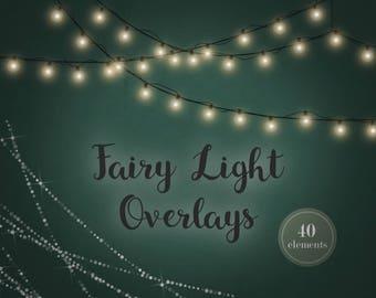 Fairy lights, Fairy lights overlay, Christmas lights, overlay, string lights clipart, string lights, clipart, xmas lights, wedding, DIGITAL
