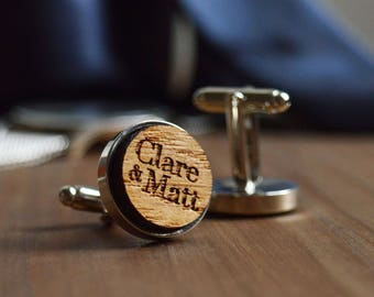 personalised cufflinks, gift for groom, wedding cufflinks, custom cufflinks, personalized cufflinks, Personalised wood cufflinks for him