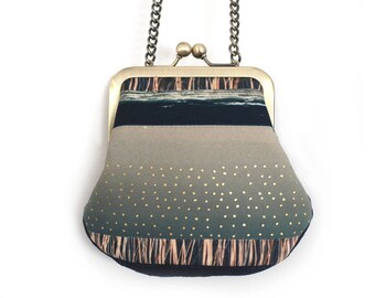 Mini cross-body purse with chain handle, leaves, reeds, landscape patterns bag