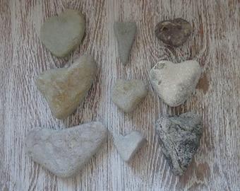 9 Heart pebbles/Sea Stones Heart/Beach Heart Rocks/Natural Heart Rocks/Heart Stones/Heart Shaped Rocks/Wild Harvest/Heart Shape Pebbles