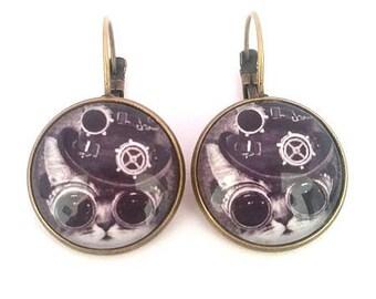 Cat steampunk, • bronze cabochon earrings • cabochon Stud Earrings cabochon • earrings fancy