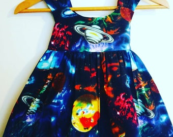 Galaxy dress, toddler planets dress, outer space dress, stars dress, stars at night dress, twirly dress, stars and planets dress, moon dress
