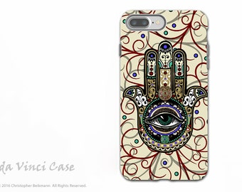 Hamsa iPhone 7 PLUS - 8 PLUS Case - Dual Layer Tough Case - Evil Eye Protection Symbol - Sacred Defender Hamsa