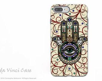 Hamsa iPhone 7 PLUS - 8 PLUS Case - Dual Layer Tough Case - Evil Eye Protection Symbol - Sacred Defender Hamsa Case for Apple iPhone 8 Plus