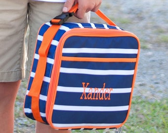 Personalized Kids Lunch Box / Monogrammed lunch box / Lunch Bag / Boys lunch Box /  Line up print