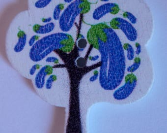 Button tree blue Eggplant vegetable scrapbooking
