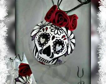 Skull bauble. Hand painted bauble. Mexican Day of The Dead Bauble. Sugar Skull Christmas Decoration.