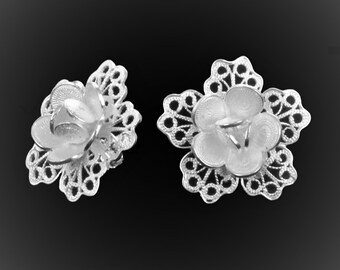 Stud Earrings with silver embroidery lace petals