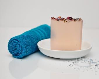 Lavender Rose Scented Soap- Floral Soap- Flower Soap- Rose Favors- Geranium Soap- Glycerin Soap- Pink Soap- Essential Oils Soap- Roses