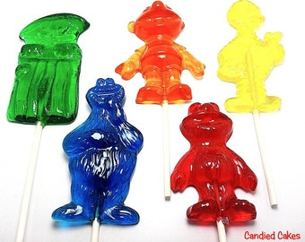 10 SESAME FRIEND LOLLIPOPS -  Hard Candy - Select 1 character per order
