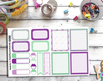 036 - (Mini - Mint & Lavender Set) Floral, Planner Sticker, Kiss Cut Stickers