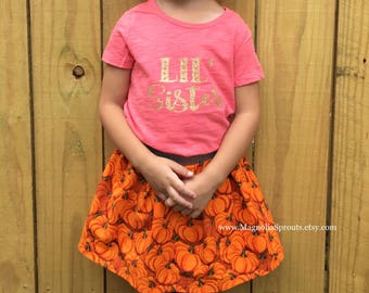 Custom Halloween skirt with metallic waistband