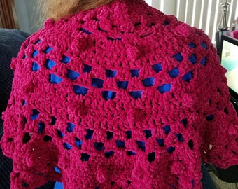 Crocheted  Rose Suede Shawl